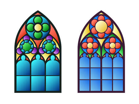 exterior architectural details: Gothic windows. Vintage frames. Church stained-glass windows Illustration