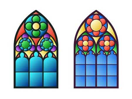 glass windows: Gothic windows. Vintage frames. Church stained-glass windows Illustration