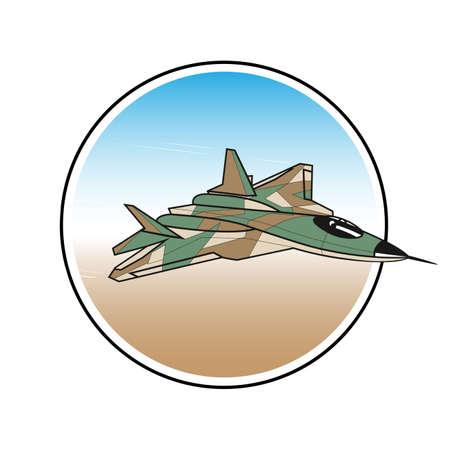 interceptor: warplane label. attacking fighter in the sky