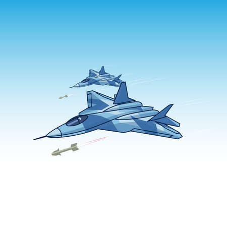 attacking fighter in the sky