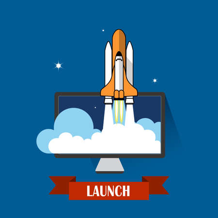 product innovation: rocket icon. concept of new business project and launch a new innovation product Illustration