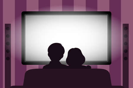 see: Family leisure, people behind viewing of the TV at night. Illustration