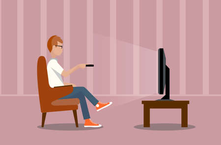 person near the TV screen illustration