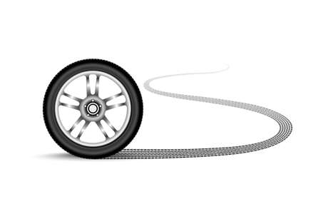 ring road: automobile wheel leaving a trace Illustration