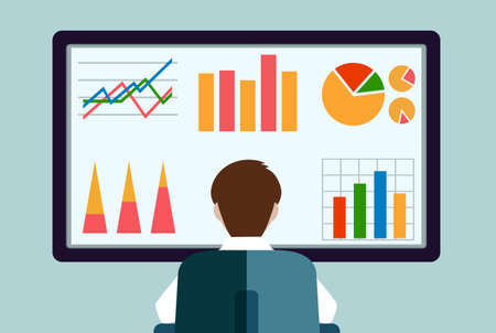 person in front of the monitor with schedules flat style Illustration