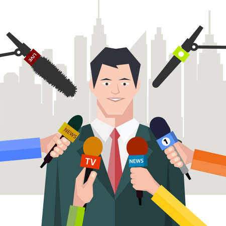 politician: interview politician before a microphone. flat style