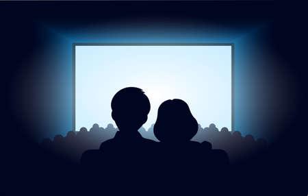 hacer el amor: siluetas de una pareja de enamorados en el cine