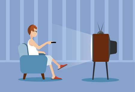 watching movie: person near the TV screen illustration