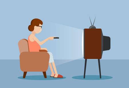 mujer viendo tv: dibuja la caricatura a la mujer cerca de la TV