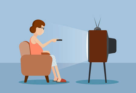 drawn caricature the woman near the TV Stok Fotoğraf - 47755129