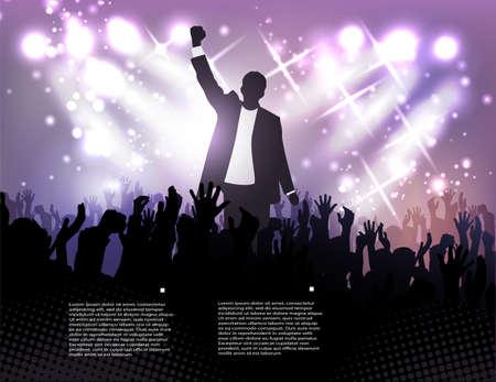 triunfador: saludar al ganador, pública activa en el fondo de los focos Vectores