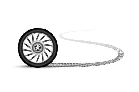 traction: automobile wheel leaving a trace Illustration