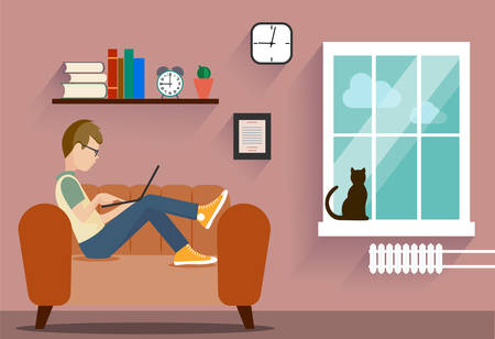 computer art: person at the computer in a house situation an illustration
