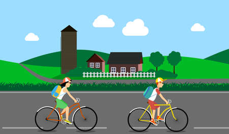 nature vector: Cycle tourism. the people traveling in the country. vector illustration