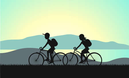 biking: cycle tourism summer sunset illustration Illustration