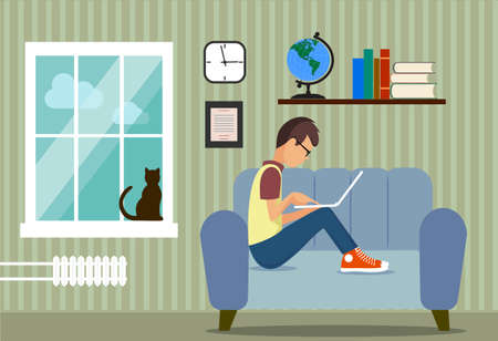 situation: person at the computer in a house situation an illustration