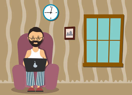distant work: person at the computer in a house situation an illustration