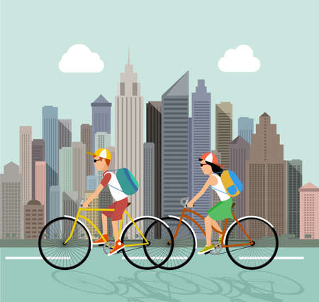 dynamic activity: Cycle tourism. People against the city. vector illustration Illustration