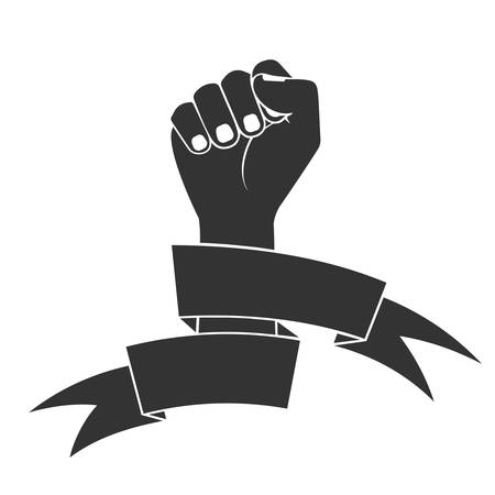 fight: The raised fist in tapes. a fight symbol for freedom.