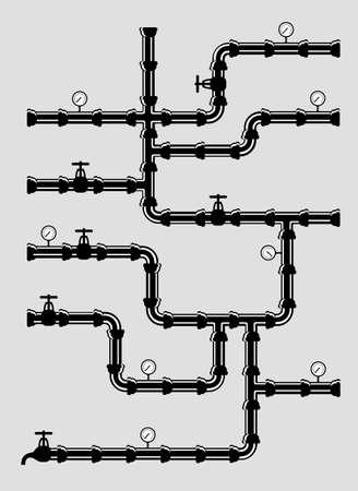 flange: Scheme of water system .vetor illustration