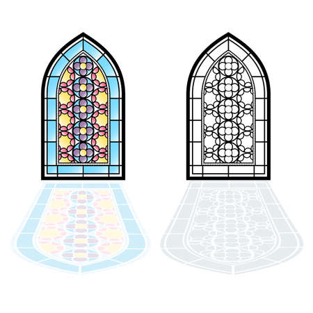 architectural styles: Gothic windows. Vintage frames. Church stained-glass windows Illustration