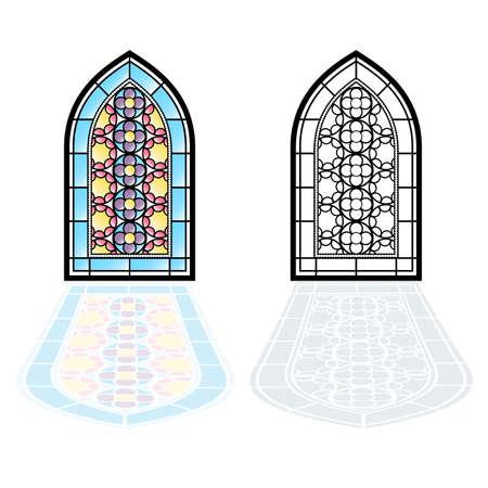 Gotische ramen. Vintage frames. Kerk gebrandschilderde ramen