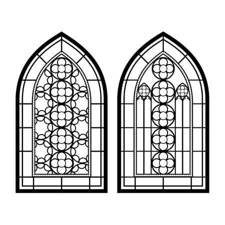 Fenêtres gothiques. Cadres d'époque. Église vitraux Vecteurs