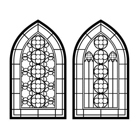 Gothic windows. Vintage frames. Church stained-glass windows Çizim