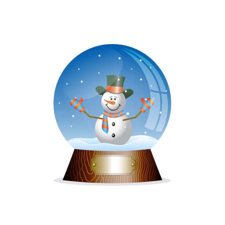 Christmas toy snow globe with a snowman Illustration