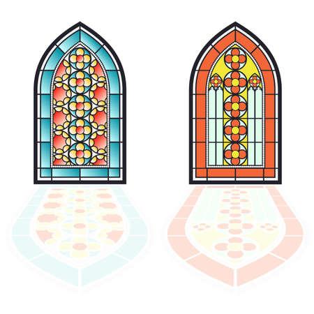 고딕 양식의 창문. 빈티지 프레임입니다. 교회 스테인드 글라스 창 일러스트
