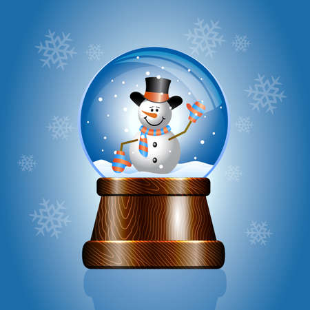 christal: Christmas toy snow globe with a snowman Illustration