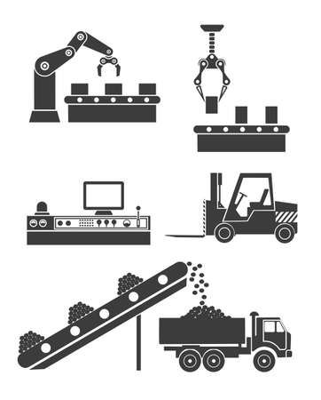 production plant: icons production lines of the conveyor
