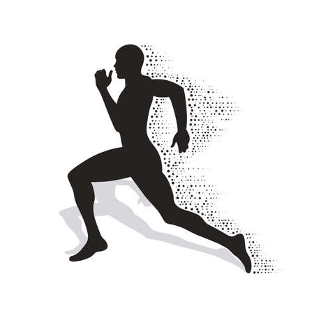 collapsing: collapsing silhouette of the running athlete Illustration