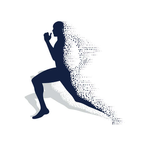 collapsing silhouette of the running athlete Vettoriali