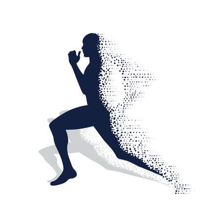 instortende silhouet van de lopende atleet
