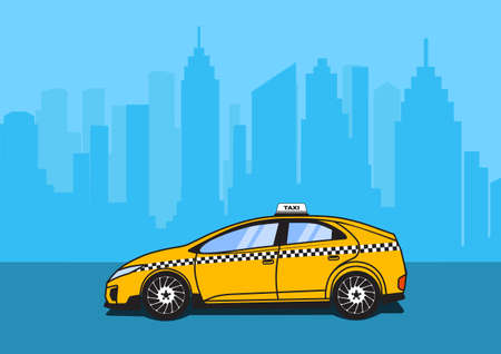 new york taxi: taxi car on city background