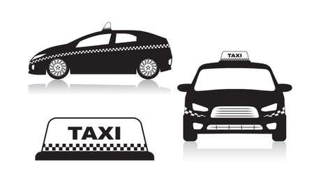 cuadros blanco y negro: iconos del coche de taxi