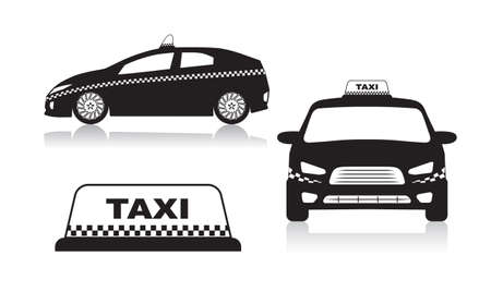 checkered: taxi car icons Illustration