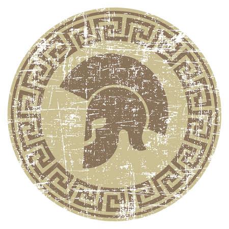 worn: worn warrior icon in grunge style