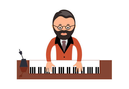 virtuoso: musician behind a grand piano a vector illustration flat style