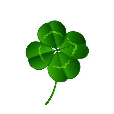 happiness or success: leaf clover isolated on white background Illustration