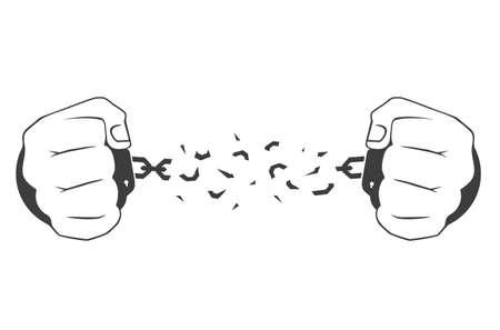 Hands in handcuffs: a man breaking a chain Stock Illustratie