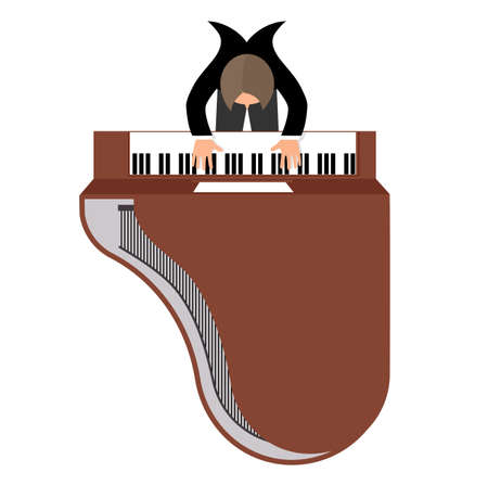 virtuoso: musician behind a grand piano top view a flat style Illustration