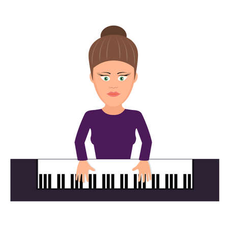 classical: musician behind a grand piano a illustration flat style Illustration