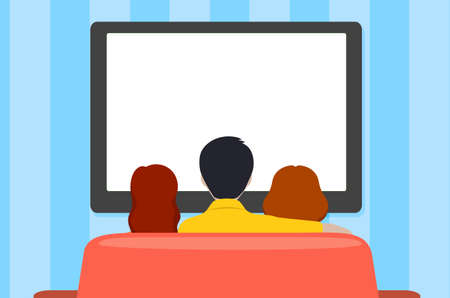 at leisure: Family leisure, people behind viewing of the TV, flat style. Illustration