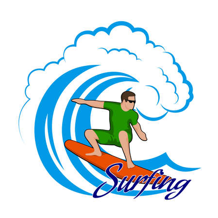 surfer vector: young man on a wave color clipart Illustration