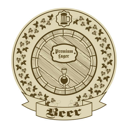 distillery: Icon design elements with the production of beer Illustration