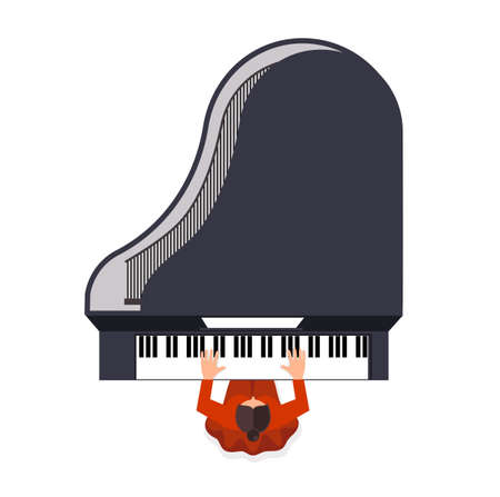virtuoso: girl behind a grand piano a color icon