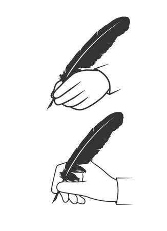 vintage document: feather in a hand on a white background Illustration