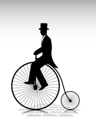 silueta ciclista: silueta del caballero por el ciclista bicicleta vieja